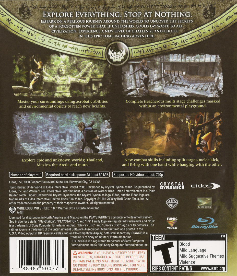 Tomb Raider: Underworld PS3 backHQ (BLUS30224)
