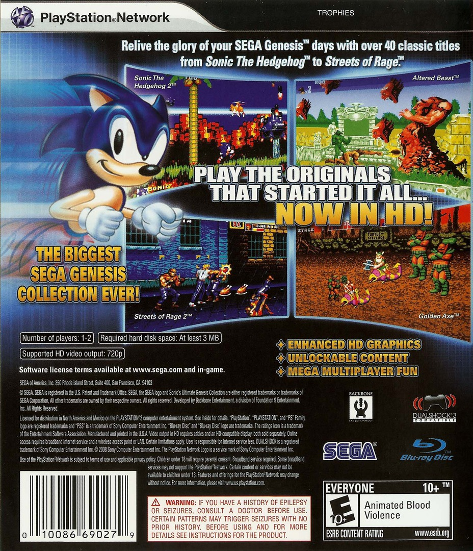 Sonic's Ultimate Genesis Collection PS3 backHQ (BLUS30259)