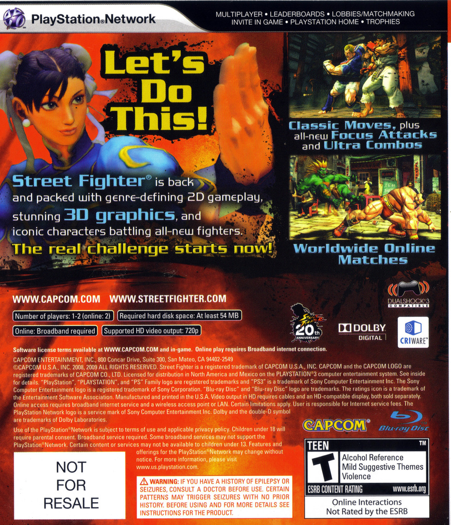 Street Fighter IV (Collector's Edition) PS3 backHQ (BLUS30260)