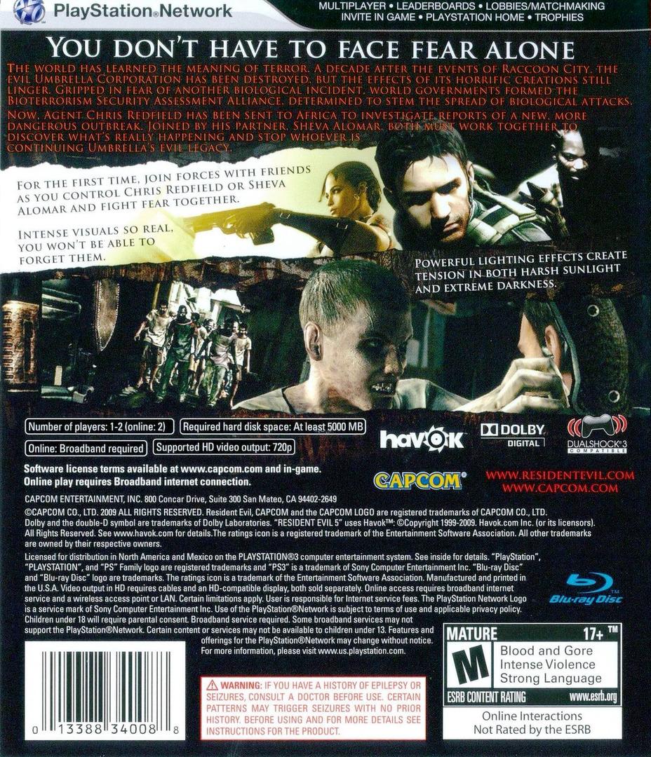 Resident Evil 5 PS3 backHQ (BLUS30270)