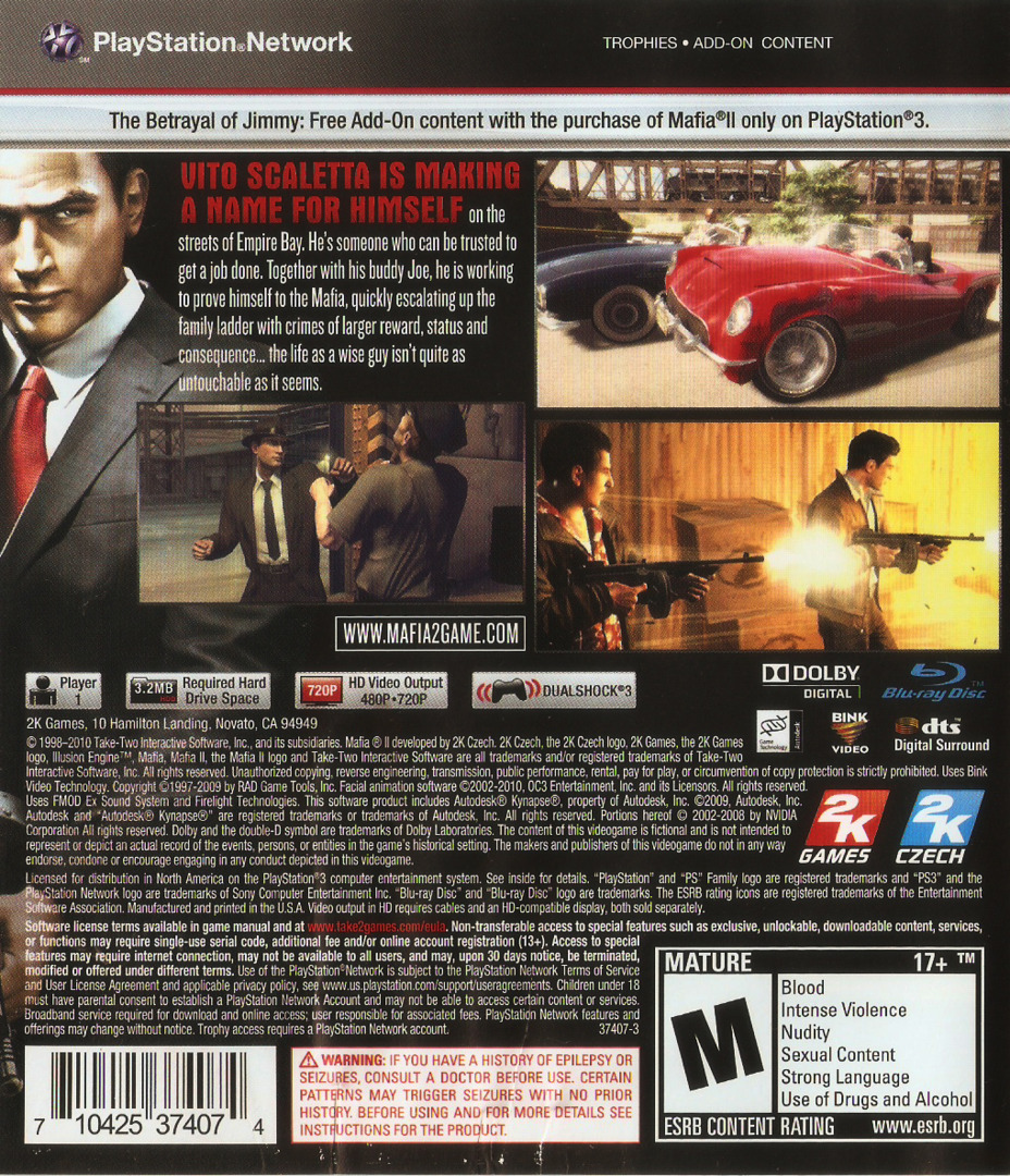 Mafia II PS3 backHQ (BLUS30281)