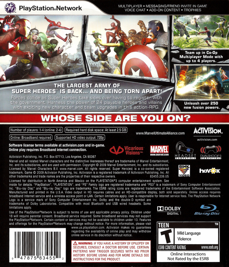 Marvel: Ultimate Alliance 2 PS3 backHQ (BLUS30294)