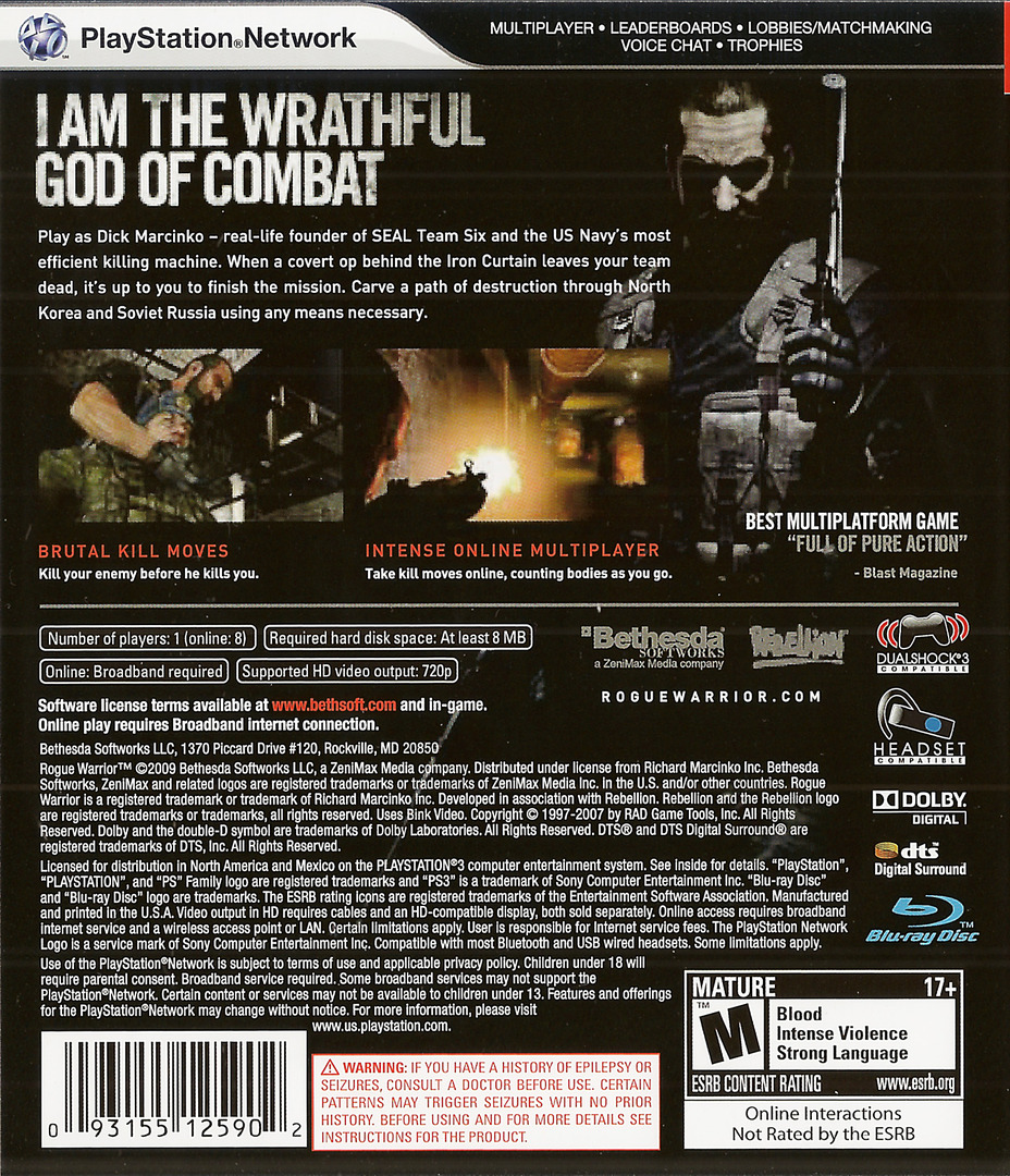 Rogue Warrior PS3 backHQ (BLUS30311)