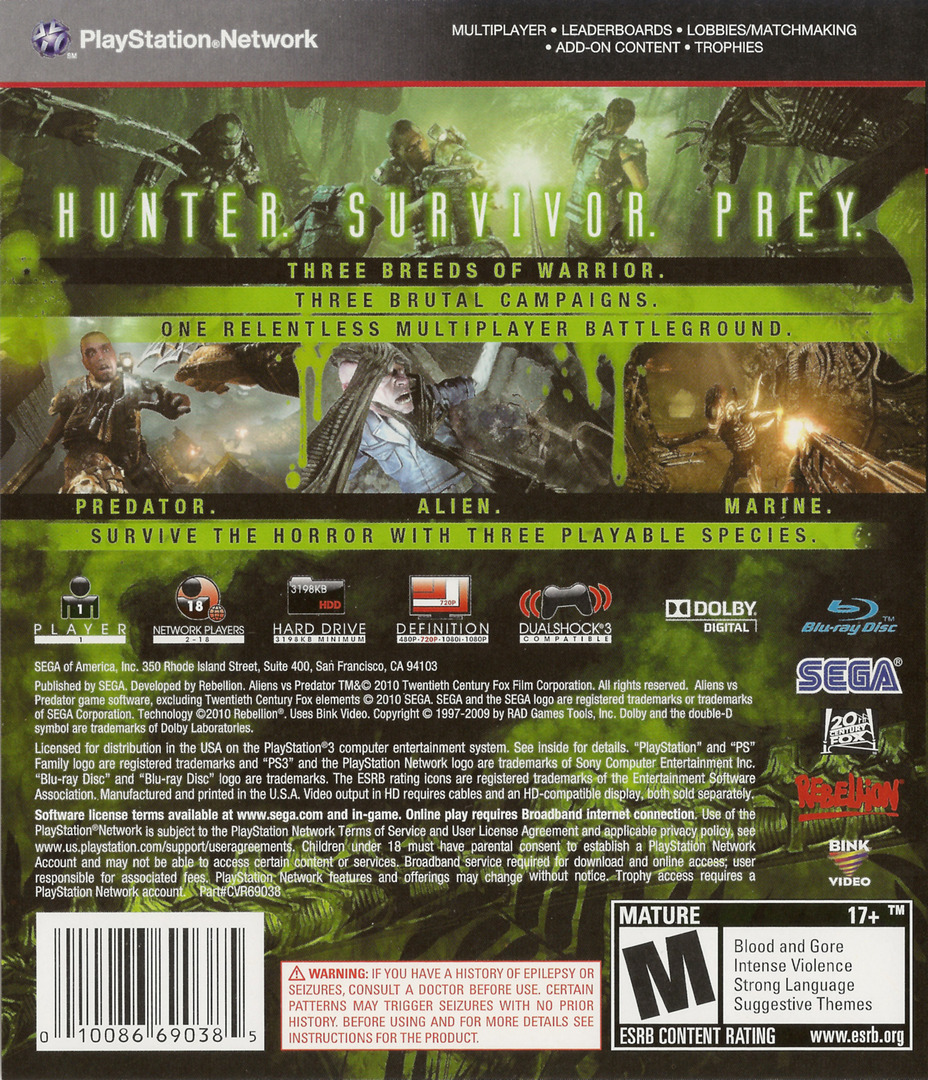 Aliens vs. Predator PS3 backHQ (BLUS30340)