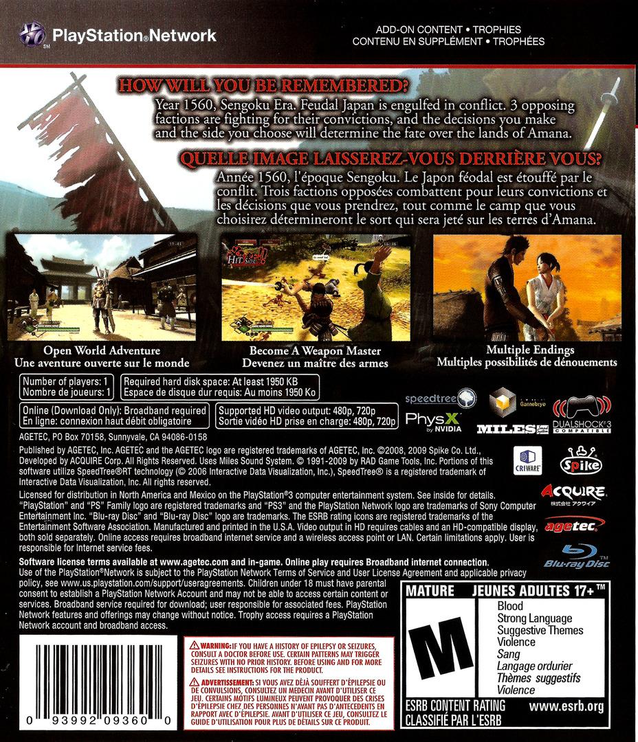 Way of the Samurai 3 PS3 backHQ (BLUS30398)
