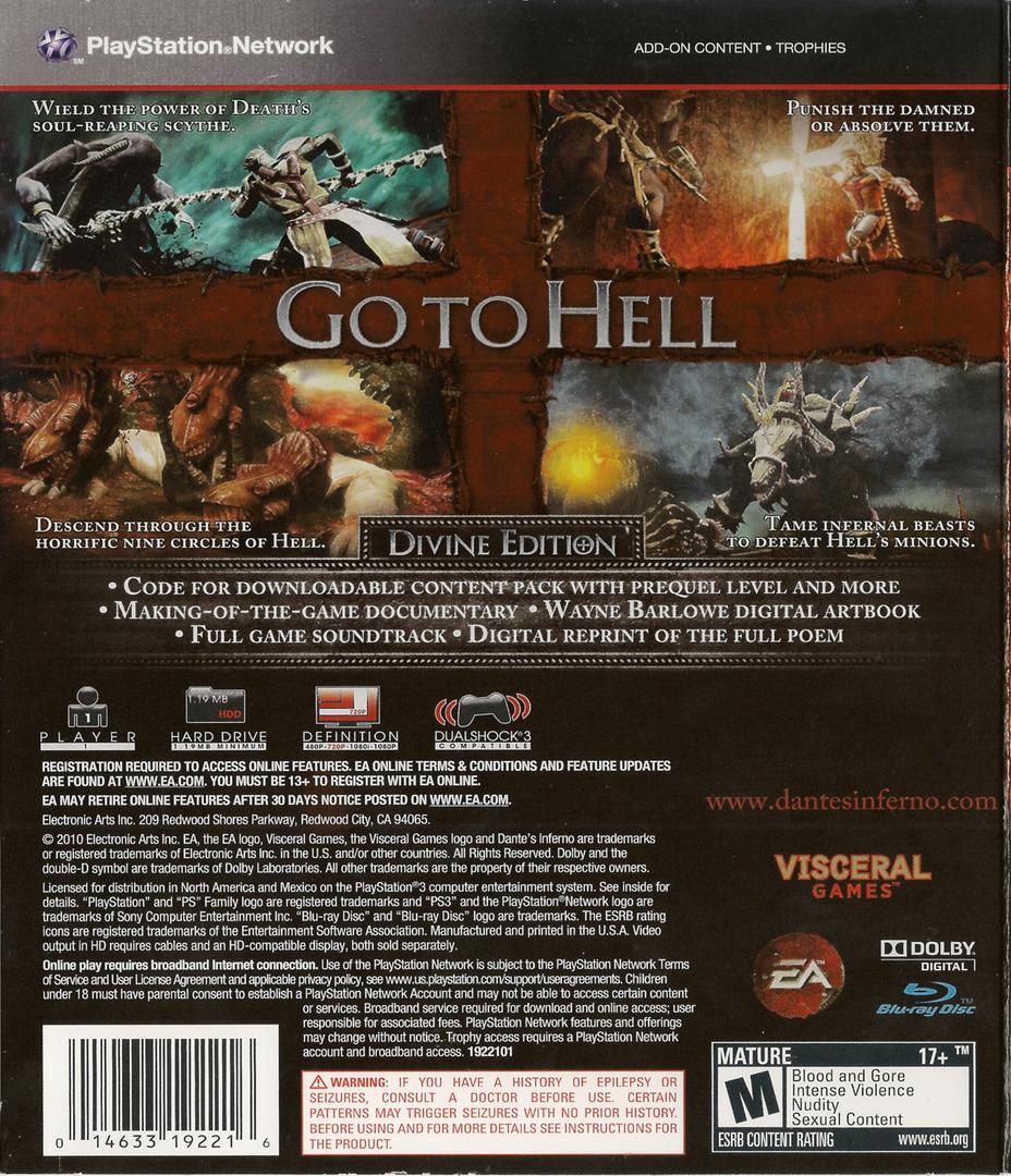 Dante's Inferno (Divine Edition) PS3 backHQ (BLUS30405)
