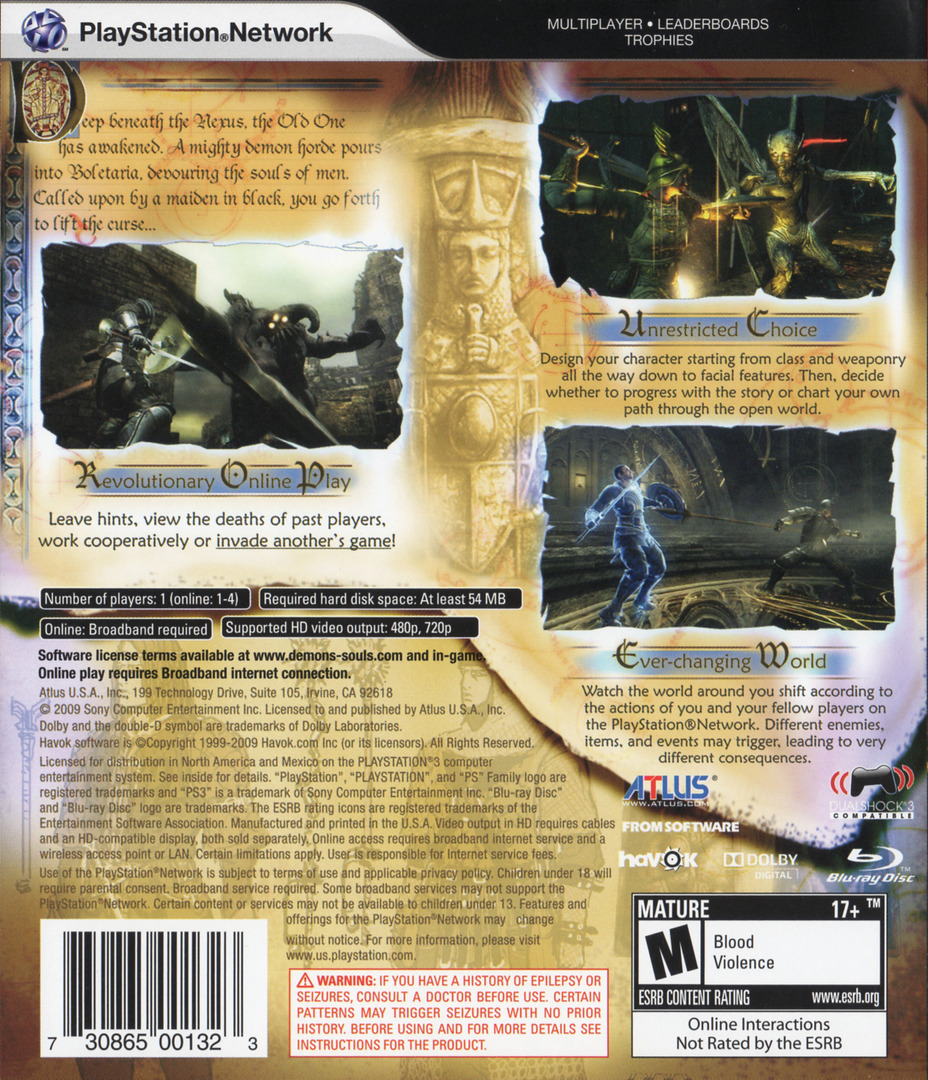 Demon's Souls PS3 backHQ (BLUS30443)