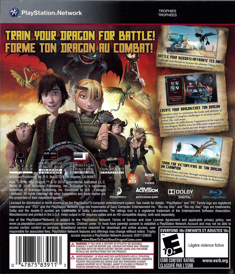 How to Train Your Dragon PS3 backHQ (BLUS30461)