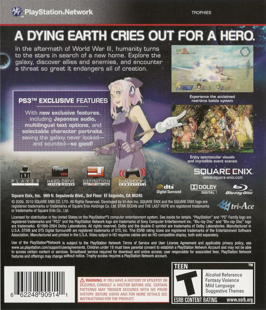 Star Ocean: The Last Hope - International PS3 backHQ (BLUS30462)