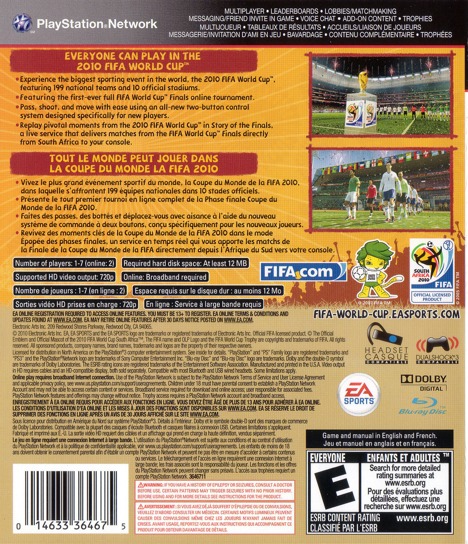 FIFA World Cup 2010: South Africa PS3 backHQ (BLUS30474)