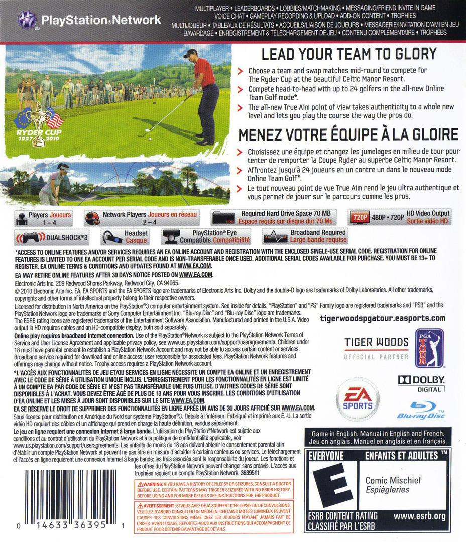 Tiger Woods PGA Tour '11 PS3 backHQ (BLUS30489)