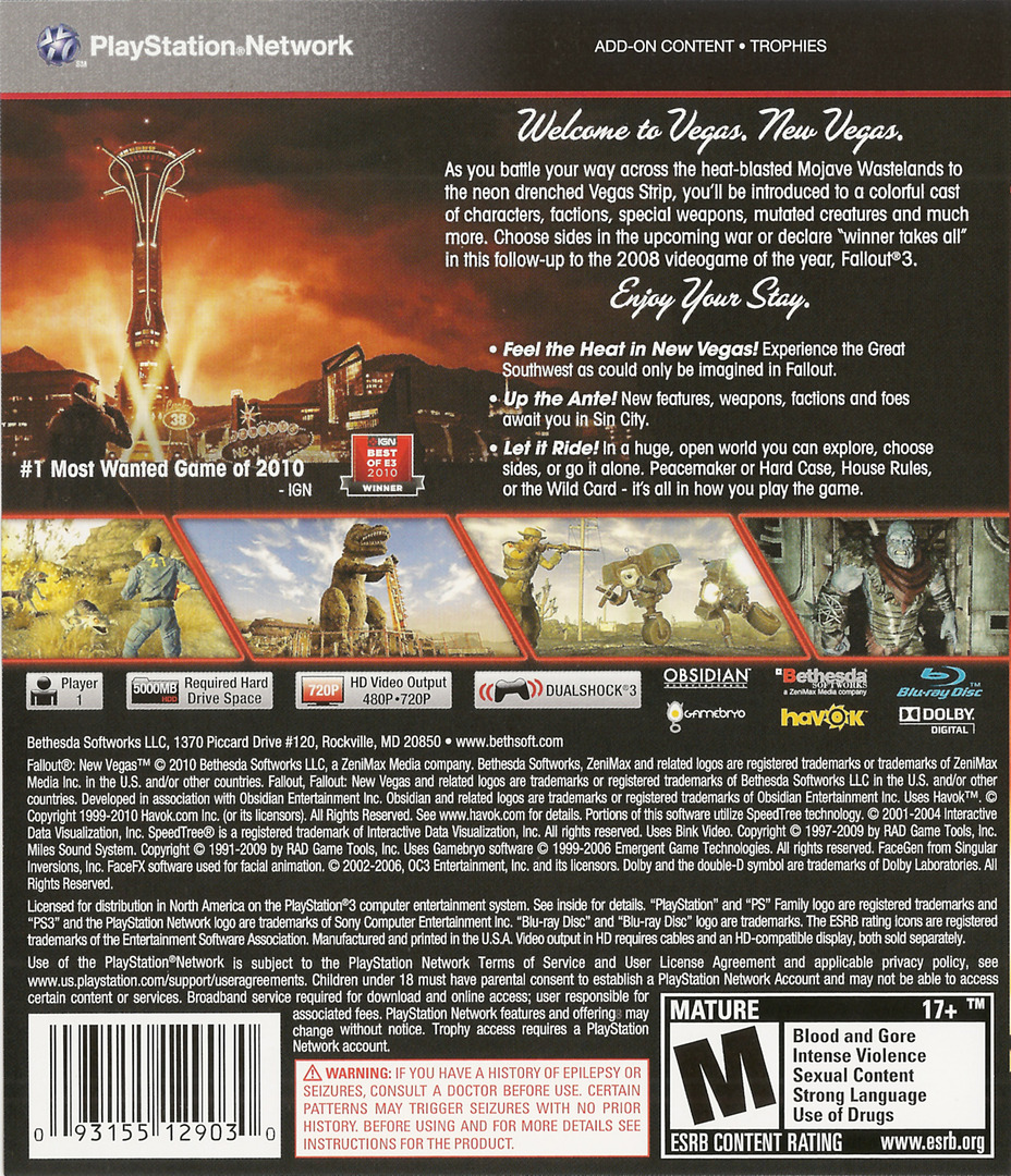 Fallout: New Vegas PS3 backHQ (BLUS30500)
