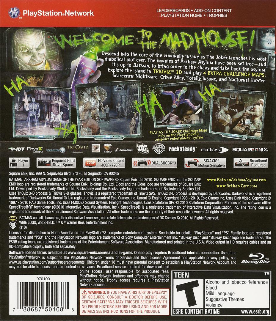 Batman: Arkham Asylum (Game of the Year Edition) PS3 backHQ (BLUS30515)