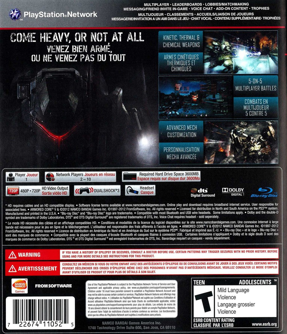 Armored Core V PS3 backHQ (BLUS30516)