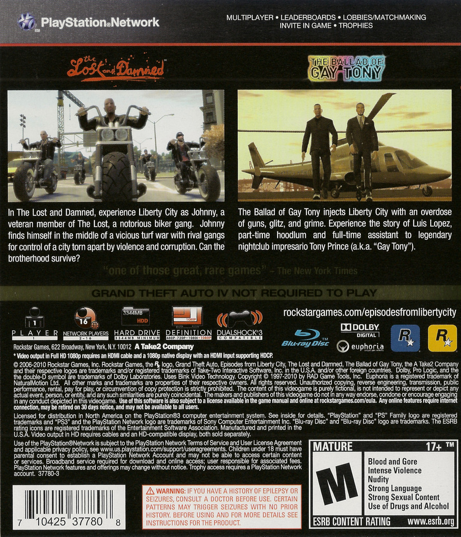 Grand Theft Auto: Episodes from Liberty City PS3 backHQ (BLUS30524)
