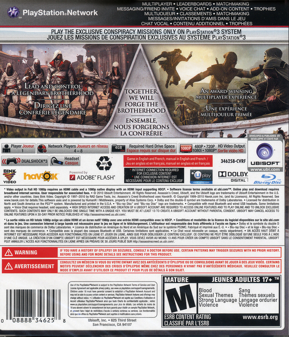 Assassin's Creed: Brotherhood PS3 backHQ (BLUS30537)