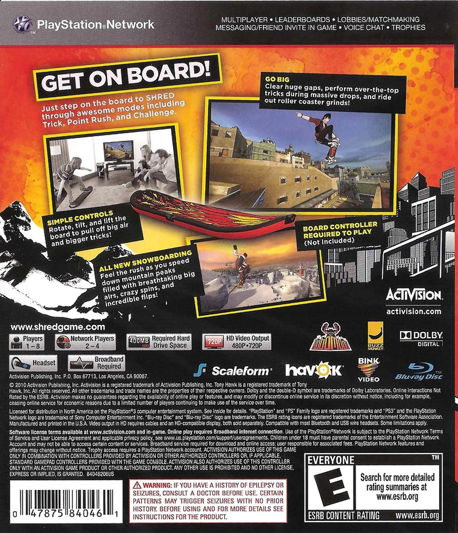 Tony Hawk: Shred PS3 backHQ (BLUS30542)