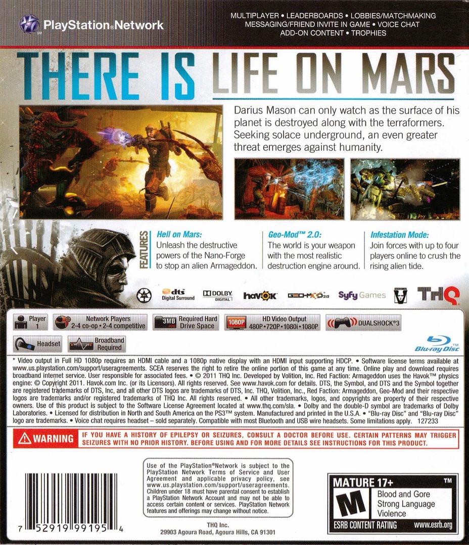 Red Faction: Armageddon PS3 backHQ (BLUS30585)