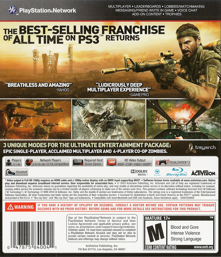 Call of Duty: Black Ops PS3 backHQ (BLUS30591)