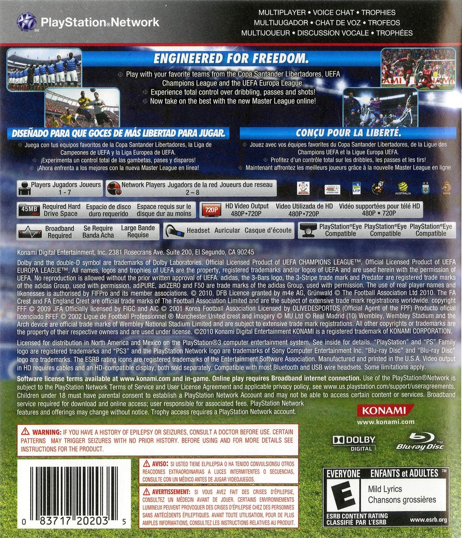 Pro Evolution Soccer 2011 PS3 backHQ (BLUS30610)