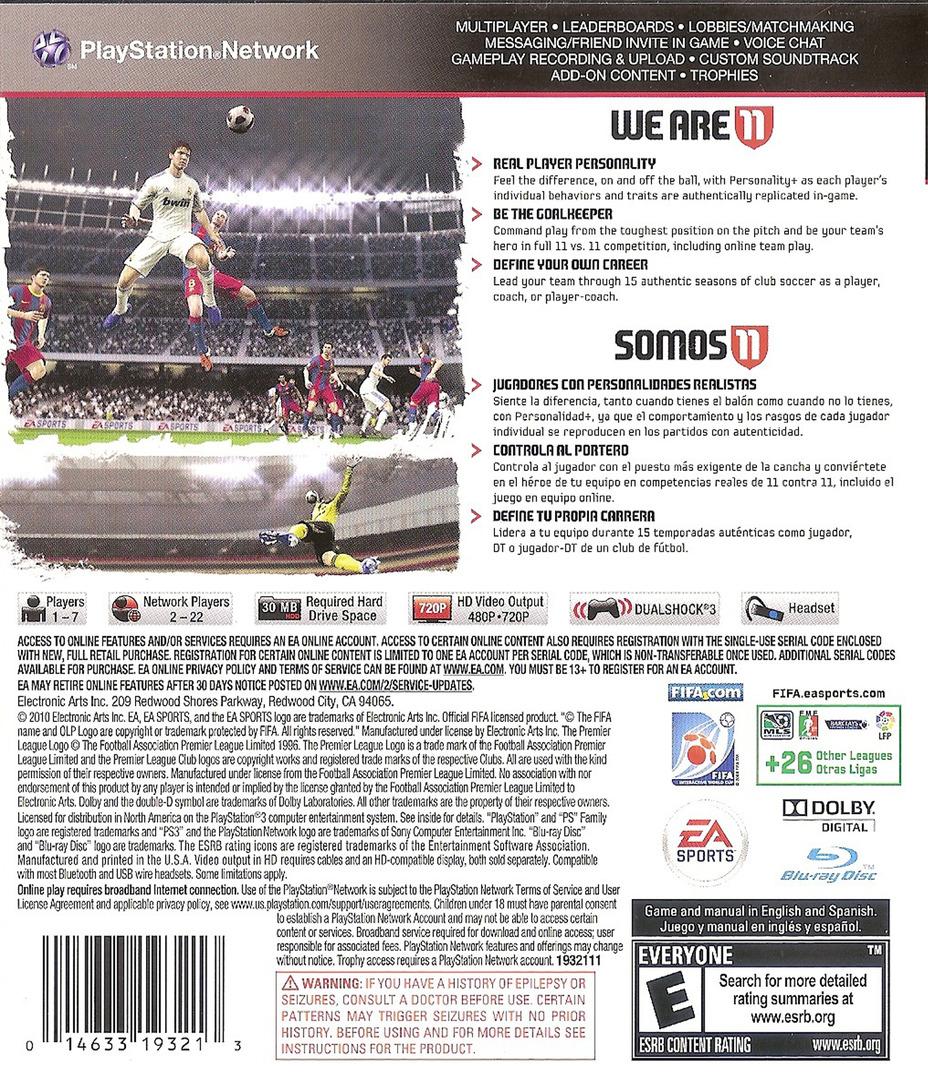 FIFA Soccer 11 PS3 backHQ (BLUS30630)