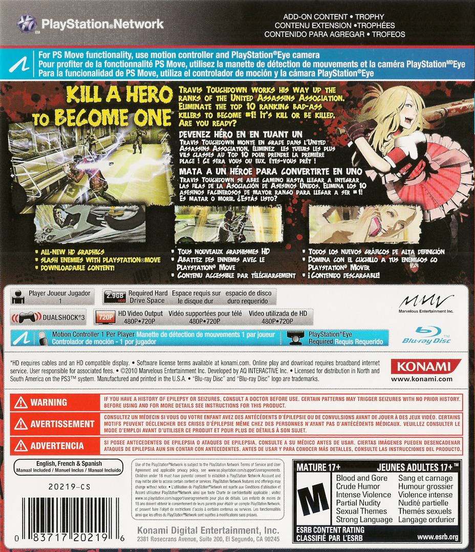 No More Heroes: Heroes' Paradise PS3 backHQ (BLUS30652)