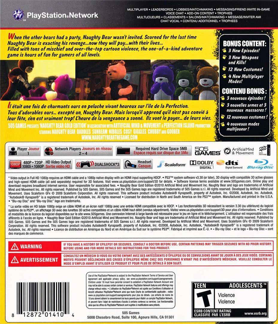 Naughty Bear Gold Edition PS3 backHQ (BLUS30700)