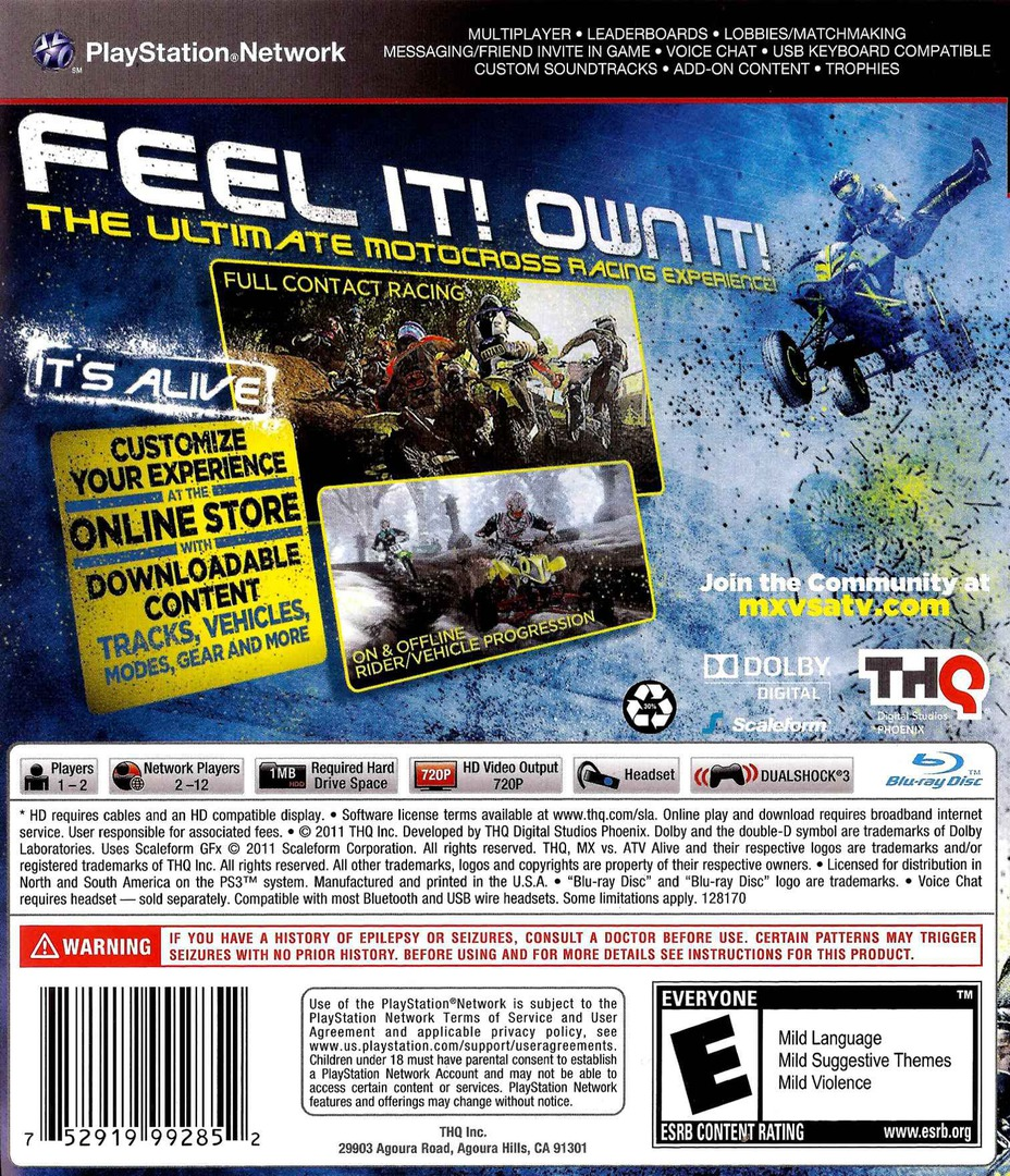 MX vs. ATV Alive PS3 backHQ (BLUS30707)