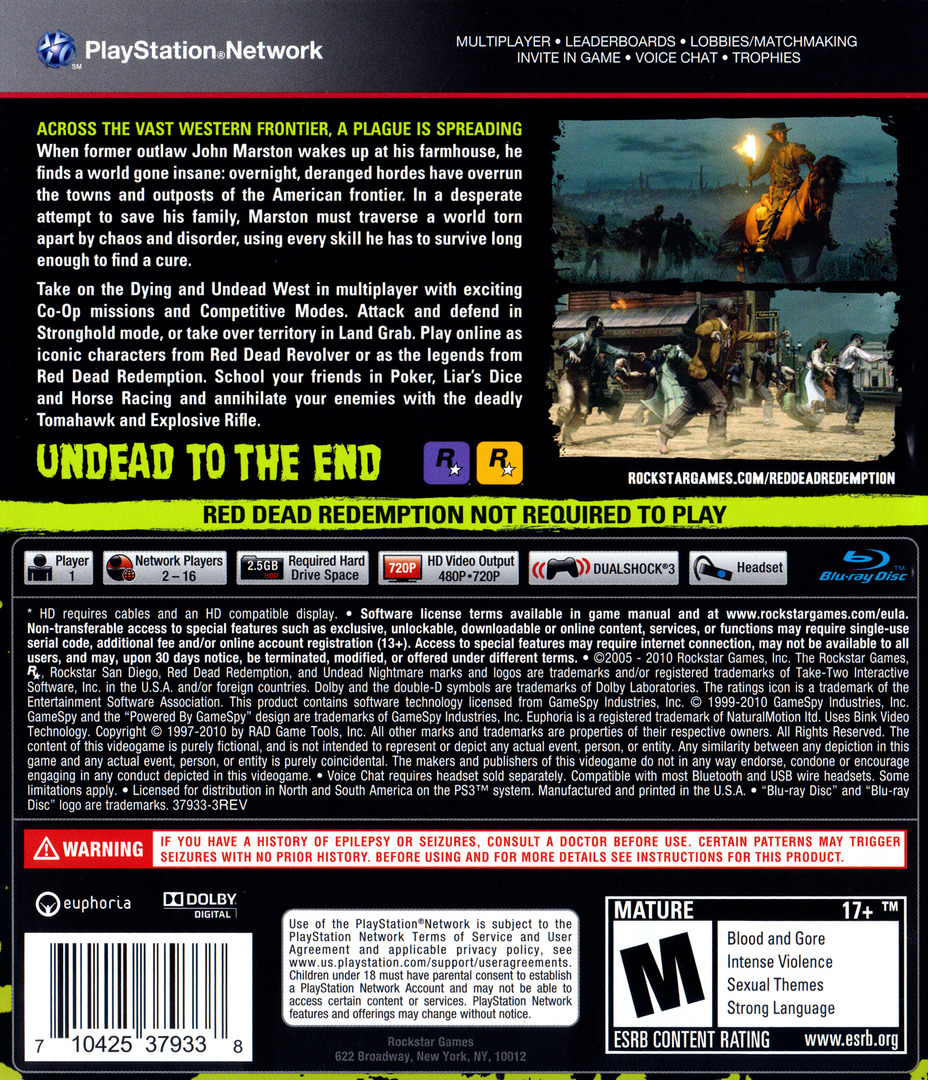 Red Dead Redemption: Undead Nightmare Collection PS3 backHQ (BLUS30711)