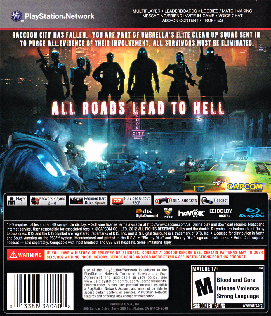 Resident Evil: Operation Raccoon City PS3 backHQ (BLUS30750)