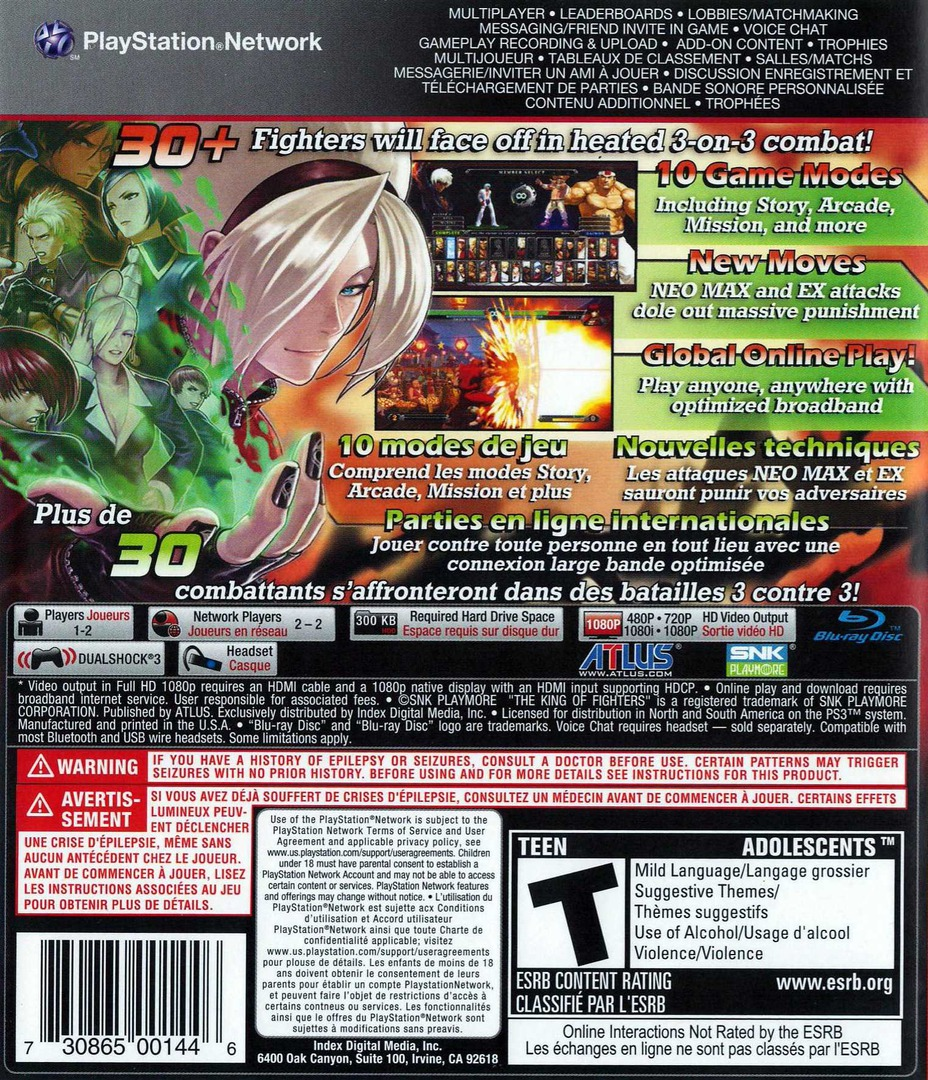 The King of Fighters XIII PS3 backHQ (BLUS30845)