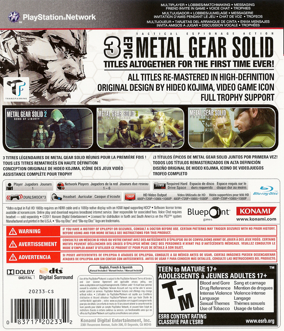 Metal Gear Solid: HD Collection PS3 backHQ (BLUS30847)