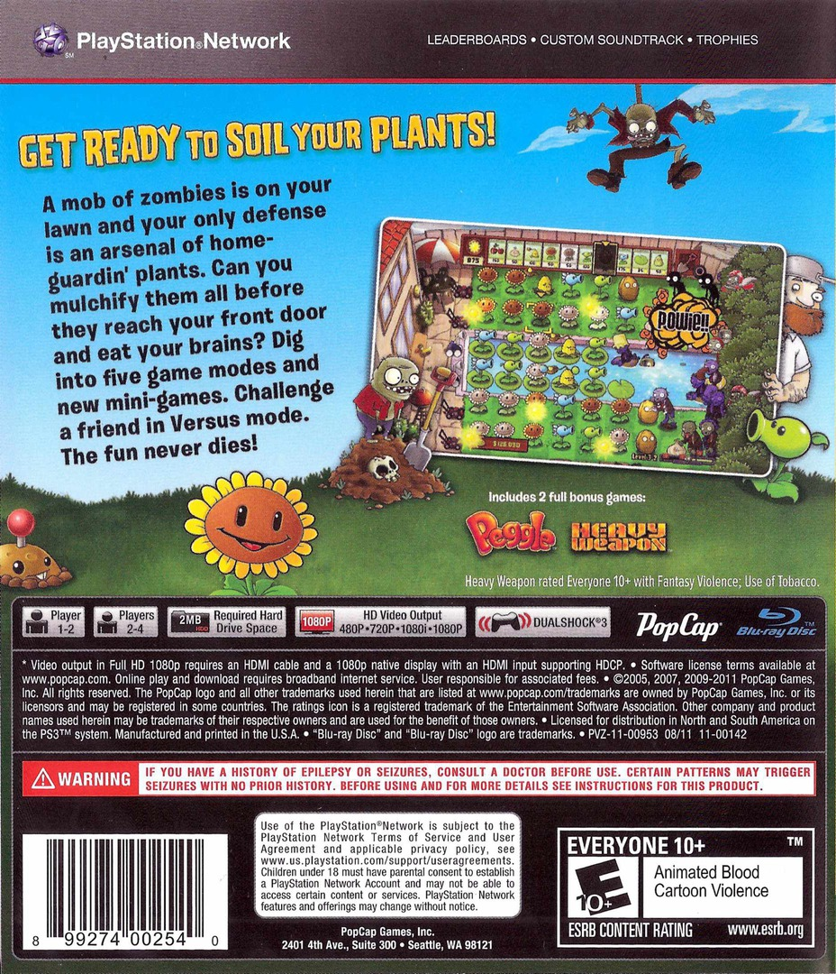 Plants vs. Zombies PS3 backHQ (BLUS30852)