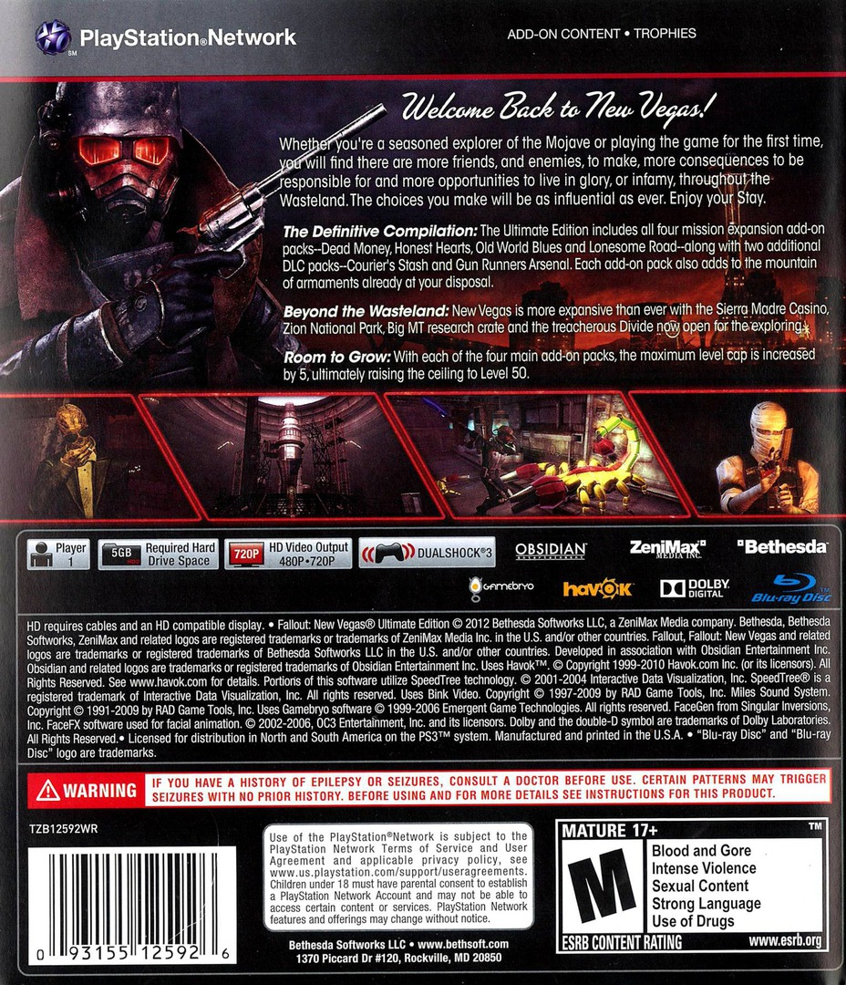 Fallout New Vegas: Ultimate Edition PS3 backHQ (BLUS30888)