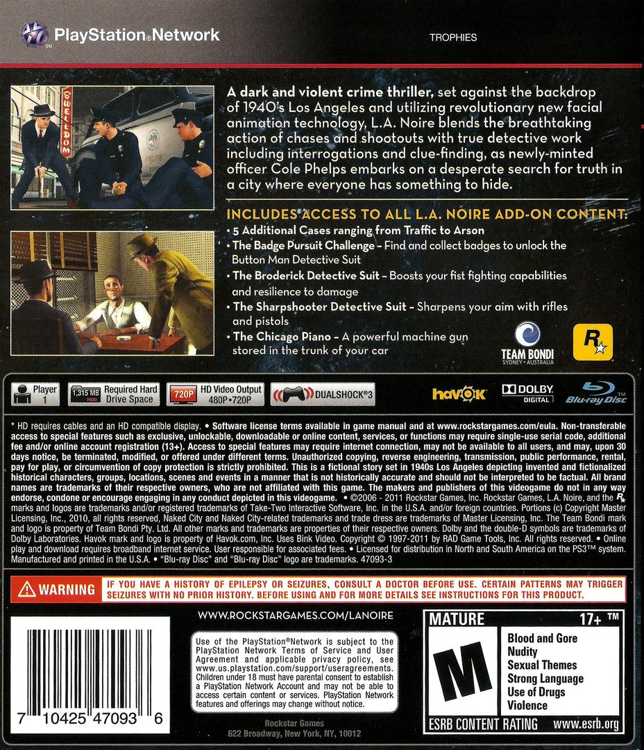 L.A. Noire - The Complete Edition PS3 backHQ (BLUS30898)