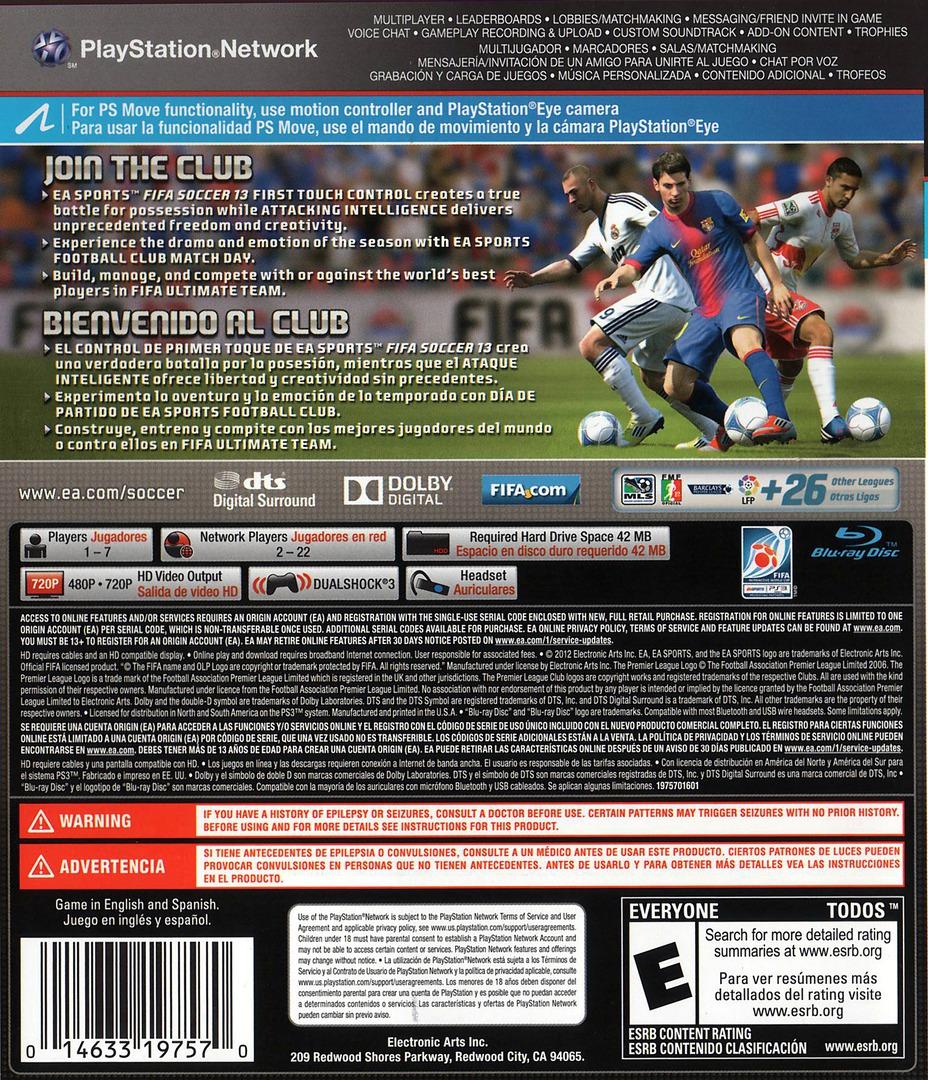 FIFA Soccer 13 PS3 backHQ (BLUS30998)