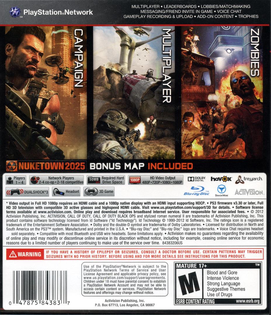 Call of Duty: Black Ops II PS3 backHQ (BLUS31011)