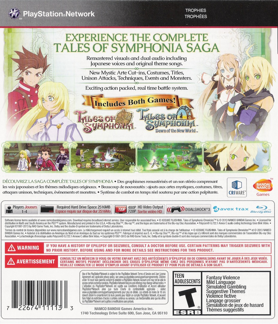 Tales of Symphonia Chronicles PS3 backHQ (BLUS31172)