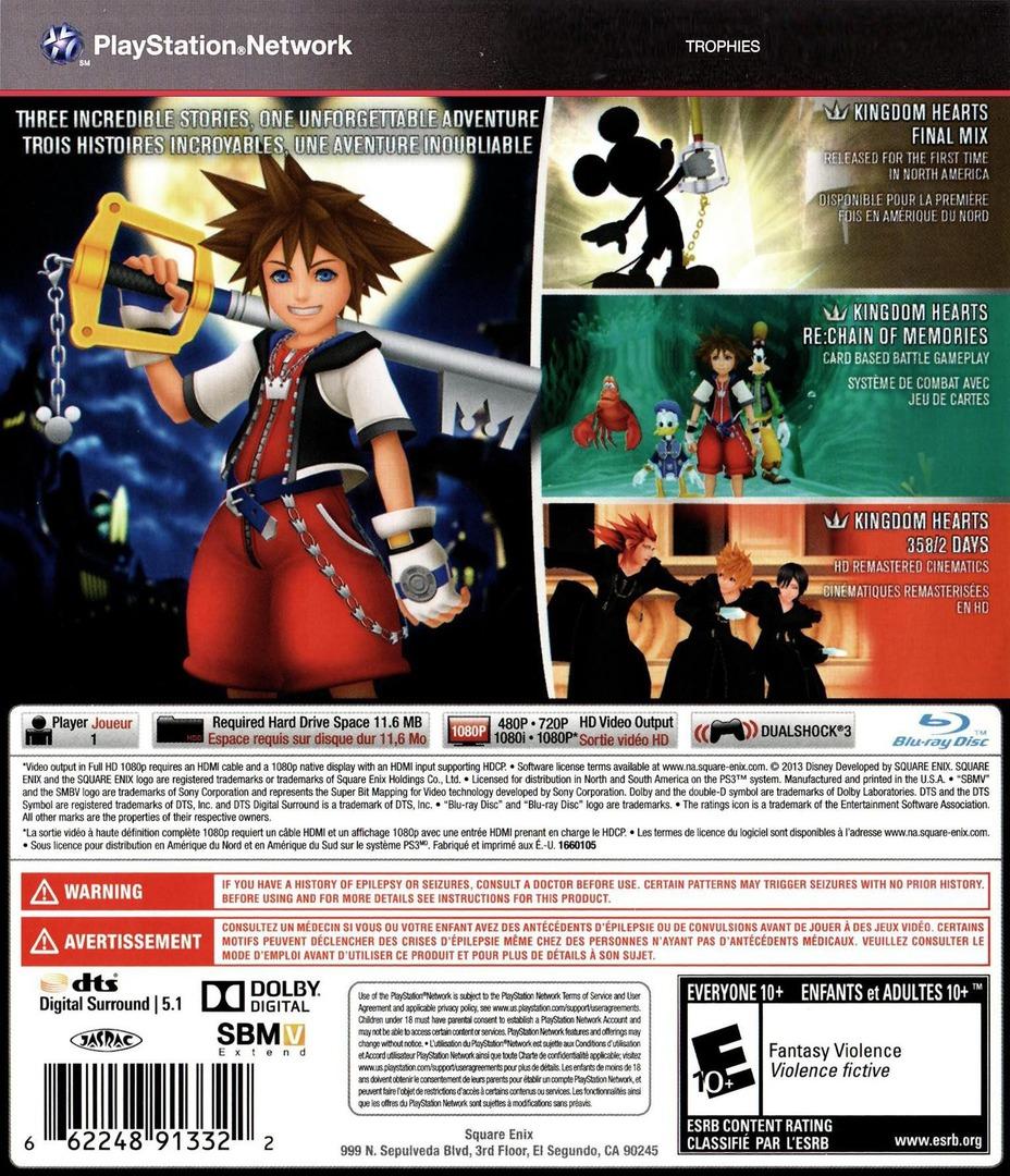 Kingdom Hearts HD 1.5 ReMIX PS3 backHQ (BLUS31212)