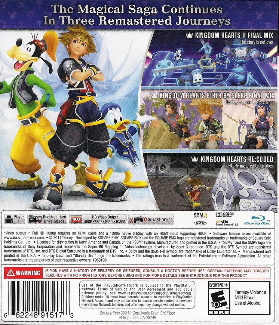Kingdom Hearts 2.5 HD ReMIX PS3 backHQ (BLUS31460)