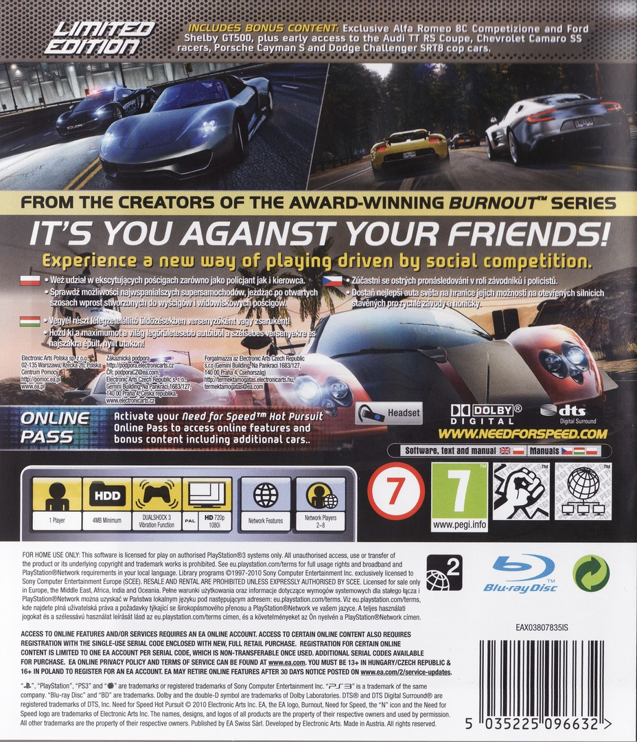 Need for Speed: Hot Pursuit (Limited Edition) PS3 backHQ (BLES00950)