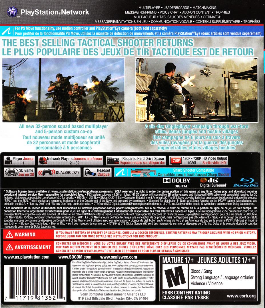 SOCOM 4: U.S. Navy SEALs PS3 backHQ2 (BCUS98135)