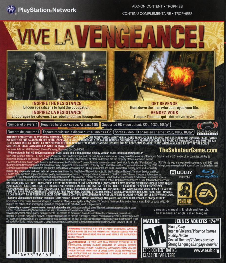 Saboteur PS3 backHQ2 (BLUS30407)