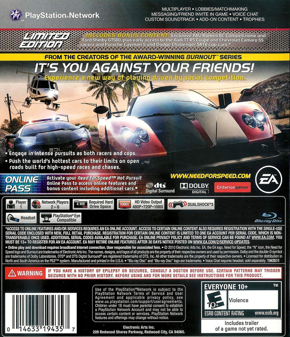 Need for Speed: Hot Pursuit PS3 backHQ2 (BLUS30566)