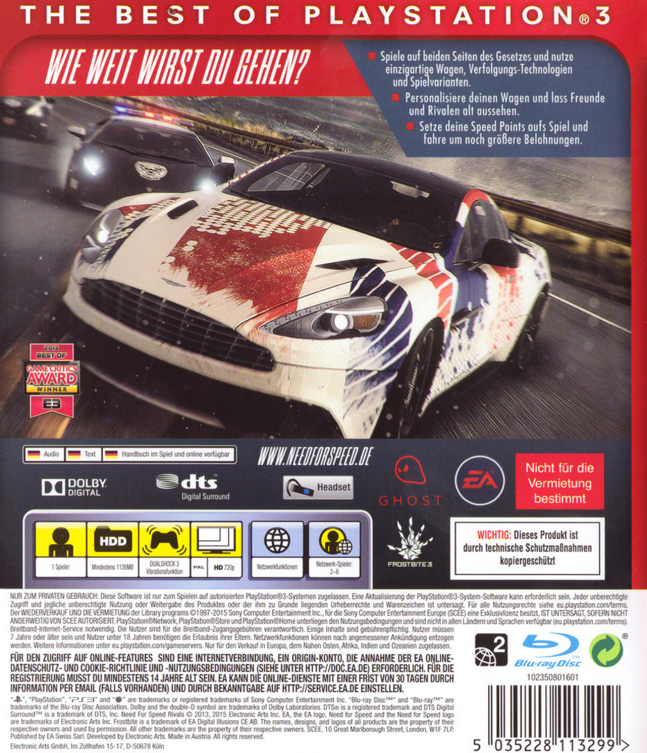 Need for Speed: Rivals PS3 backHQB (BLES01894)