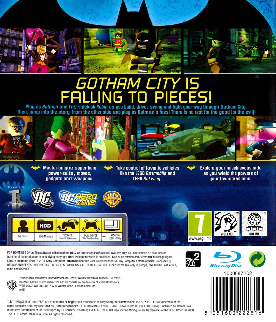 LEGO Batman: The Videogame PS3 backHQB (BLES00332)