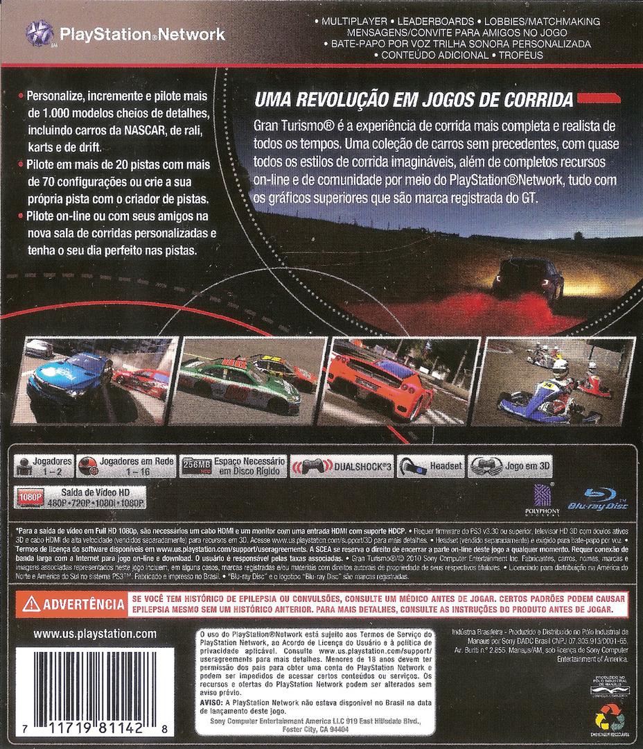 Gran Turismo 5 PS3 backHQB (BCUS98114)