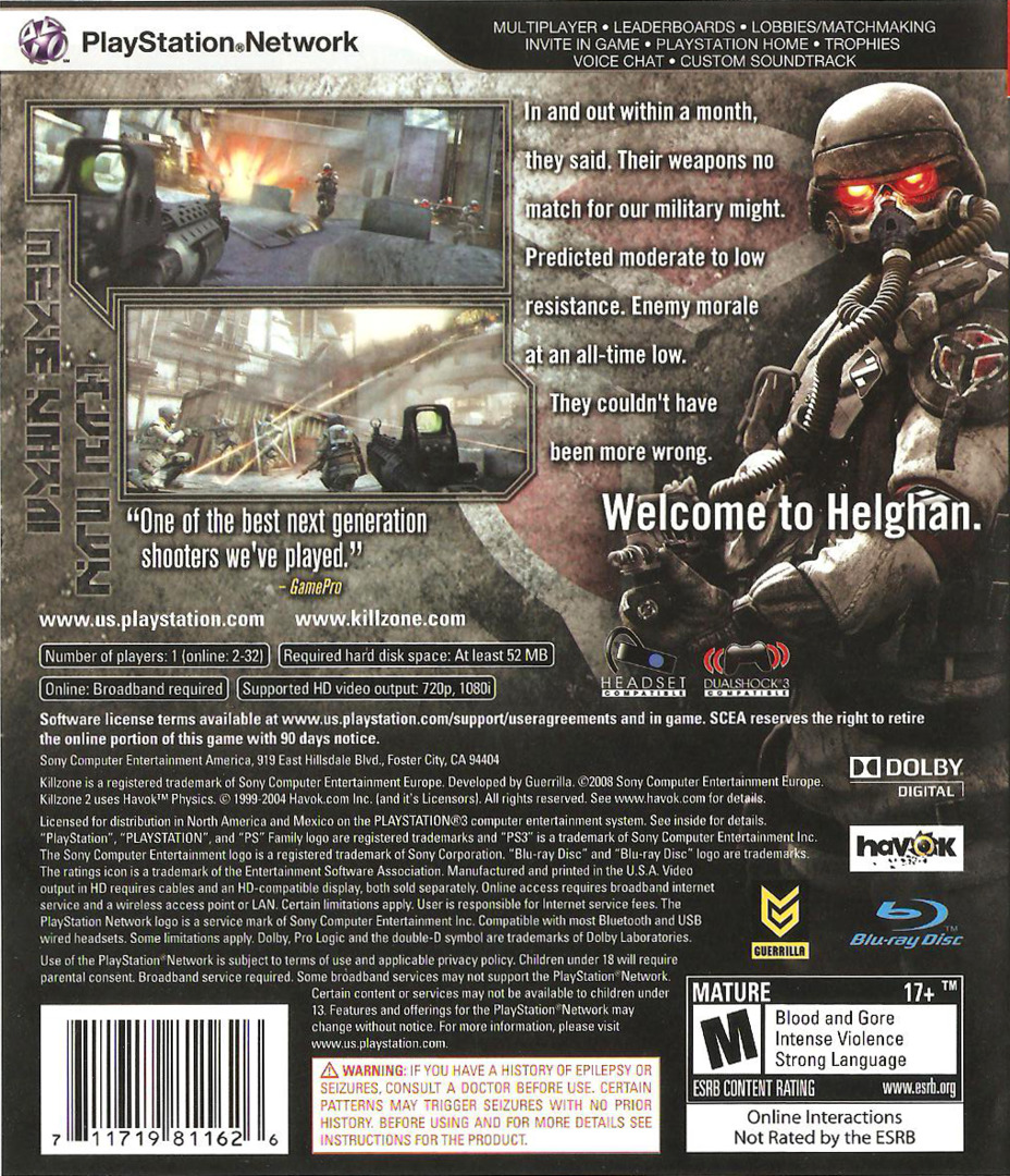 Killzone Trilogy PS3 backHQB (BCUS98116)