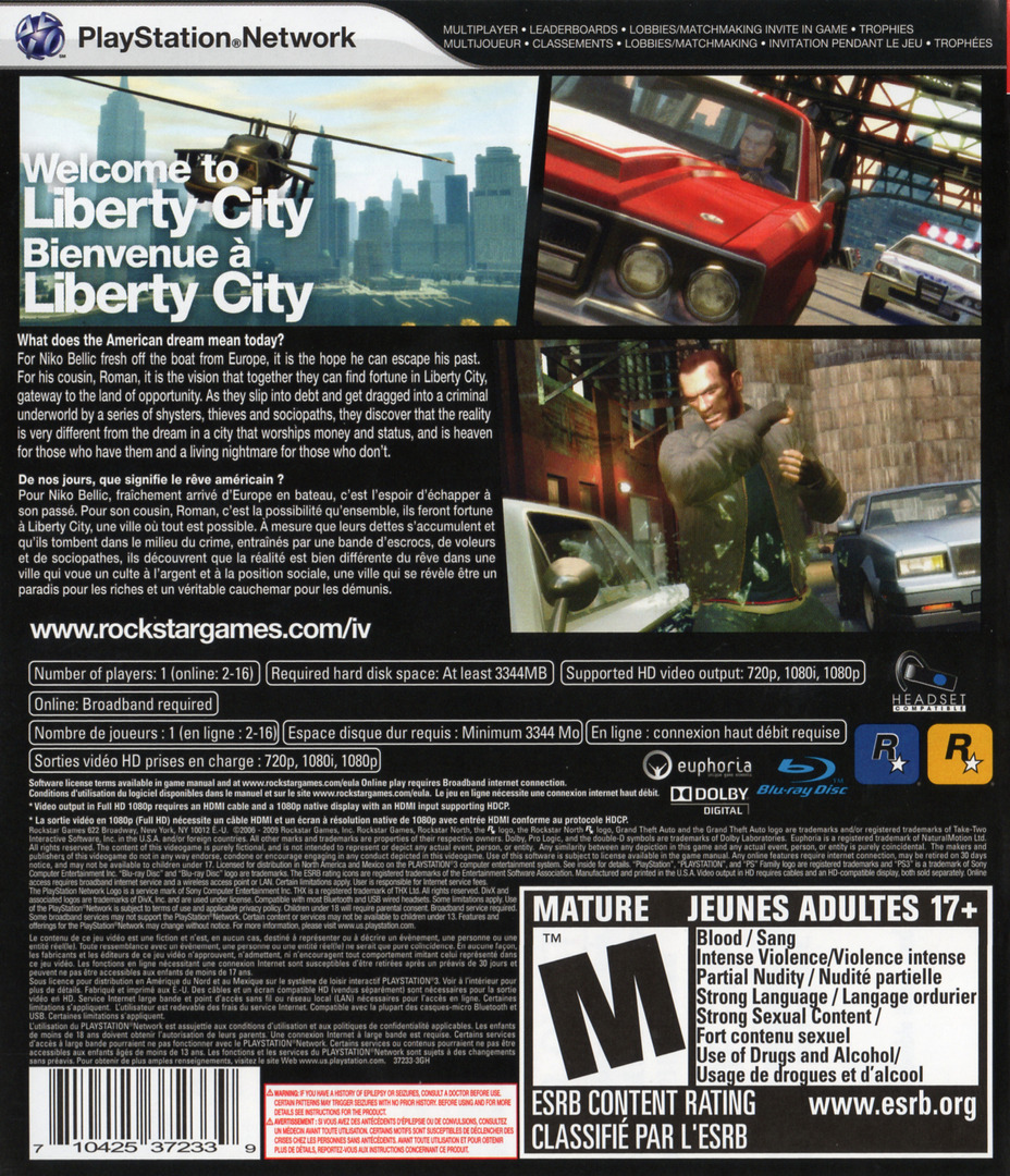 Grand Theft Auto IV PS3 backHQB (BLUS30127)