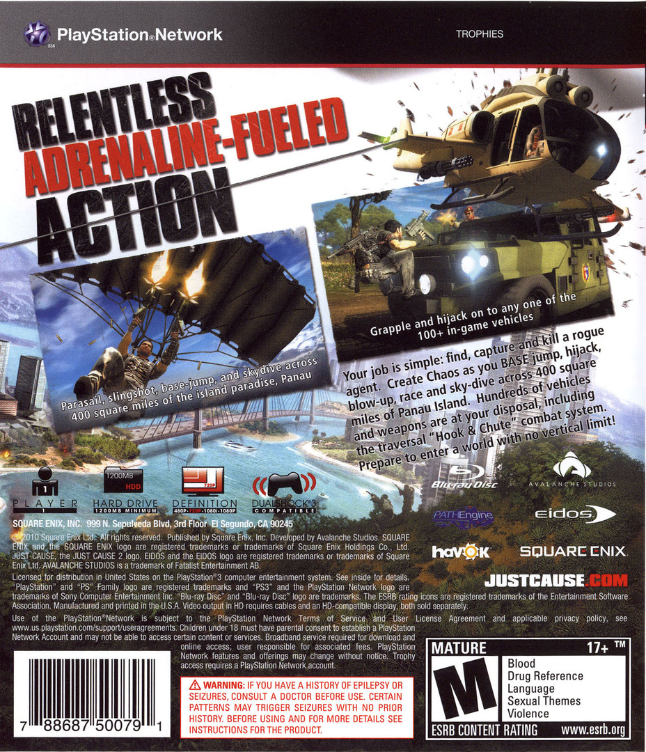 Just Cause 2 PS3 backHQB (BLUS30400)